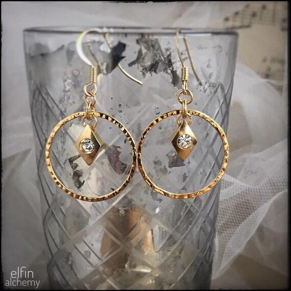 textured gold hoop earrings with Swarovski charm dangle, statement earrings, zoom jewellery, handcrafted in Lancashire, elfin alchemy