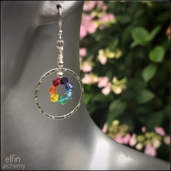 rainbow / chakra statement silver hoop earrings with Swarovski crystals, textured metal, Lancashire made by elfin alchemy