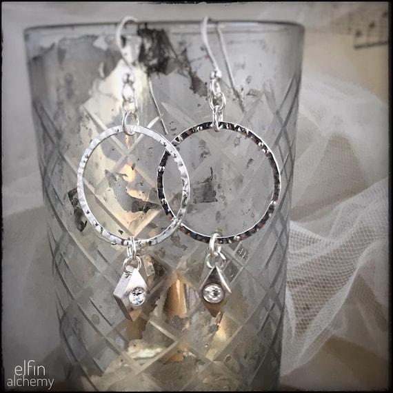 textured silver hoop earrings with Swarovski charm dangle, statement earrings, zoom jewellery, handcrafted in Lancashire, elfin alchemy