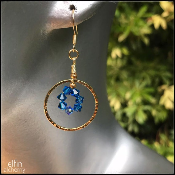 beautiful blue statement gold hoop earrings with Swarovski crystals, Lancashire made by elfin alchemy