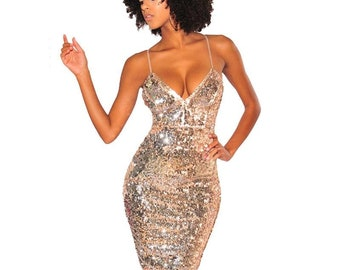 b600252f Backless Spaghetti Strap Bodycon Luxury Party Club Wear Sparkly Mini Dress