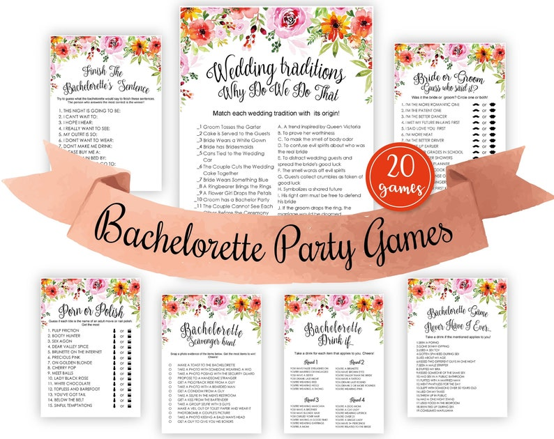 Bridal Shower Games Finish The Bachelorettes Sentence Game Printable Bachelorette Party Games Instant Download Watercolor Diy