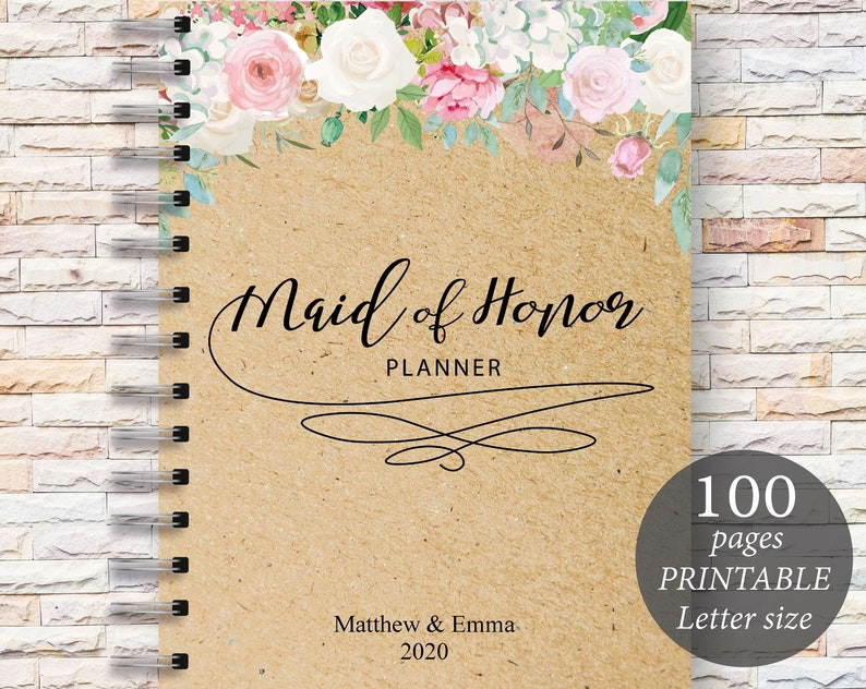 image regarding Maid of Honor Printable Planner identify Maid of Honor Planner, Wedding ceremony Planner Printable, Marriage Designing Guide, Wedding day, Bridal Shower Present, Present for Bride, Wedding ceremony Planner