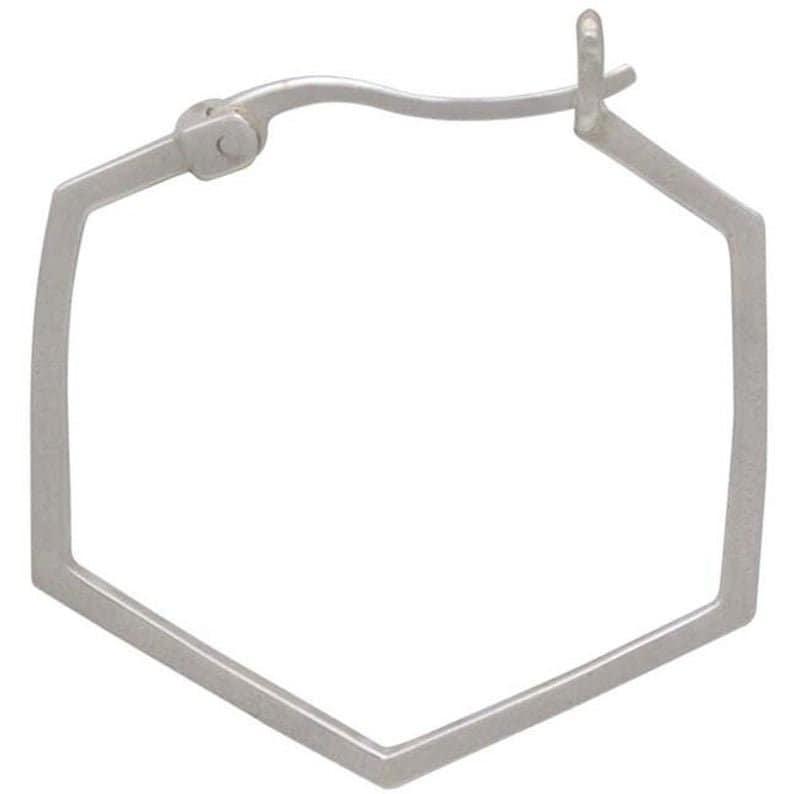 Sterling Silver Hexagon Hoop Earrings Geometric Earrings Sterling Silver Earrings