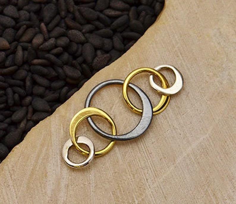 Jewelry Link Item 3483 Mixed Metal Five Circles of Life Link