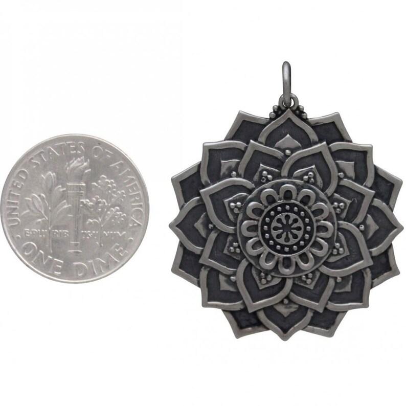 Sterling Silver Lotus Mandala Pendant 35mm
