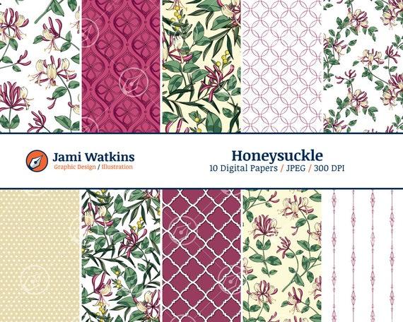 Honeysuckle Digital Paper Set Honeysuckle Pattern Wallpaper