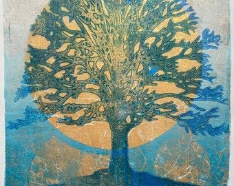 "ORIGINAL ART - 'And the World Turns'- Monotype Print 10x8"", gold-metallic detail"