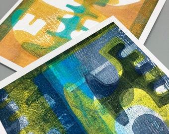 GREETINGS CARD DUO - Handmade Original Art - Blank Cards, Notelets, 2 Pack,