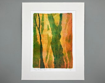 "ORIGINAL ART - 'The Amber Hour' 8x10"" Mounted Monotype Print"