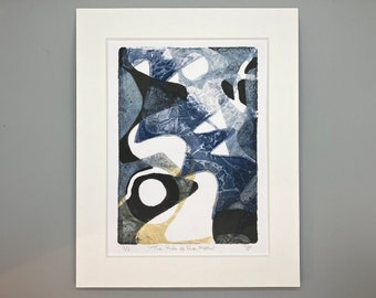 """ORIGINAL ART - 'The Pull of the Moon' 8x10"""" Mounted Monotype Print"""