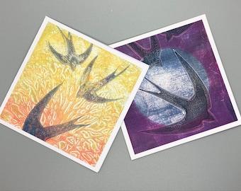 GREETINGS CARD DUO- Handmade Original Art - Blank Cards, Notelets, 2 Pack