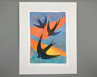 "ORIGINAL ART - 'Swallows' 8x10"" Mounted Monotype Print"