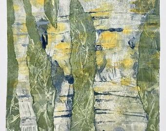 "ORIGINAL ART - 'Birches' - 8x10"" Mounted Monotype Print"