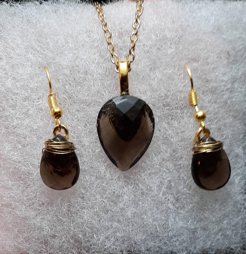 Smoky Quartz Necklace and Earring Set