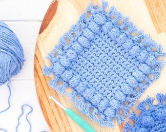 Square Boho Bobble Coasters Crochet Pattern (Printable PDF)