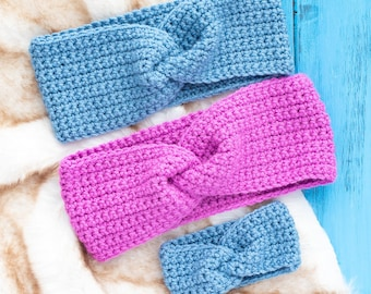 Easy Twisted Headband Crochet Pattern / Fashionable Ear Warmers for Beginners, in 8 different sizes Preemie to Adult Large (Printable PDF)