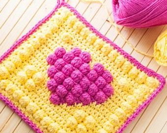 Bobble Heart Potholder Crochet Pattern (Printable PDF with Crochet Chart)