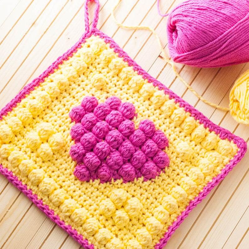 Bobble Heart Potholder Crochet Pattern Printable PDF with image 0