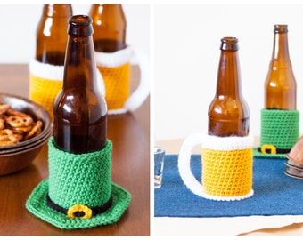 TWO St. Patrick's Day Beer Cozy Crochet Patterns (Printable PDF pattern for Leprechaun Hat and Beer Mug cozies)