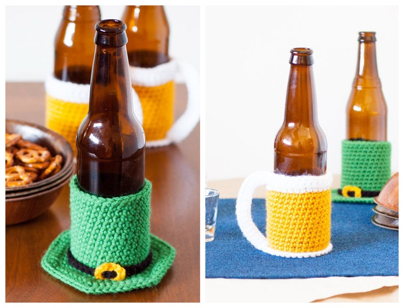 TWO St. Patrick's Day Beer Cozy Crochet Patterns image 0