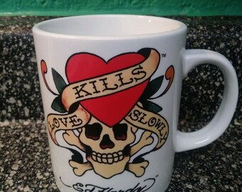f389403b889 Don Ed Hardy Coffee Mug True Love Kills Slowly Tattoo Eagle And Skull11 oz  mugs mug
