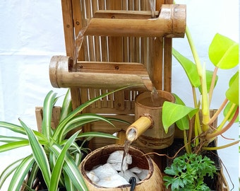 Table top water fountain weaving wall style mini fountain indoor fountain real handmake from coconut shell and bamboo