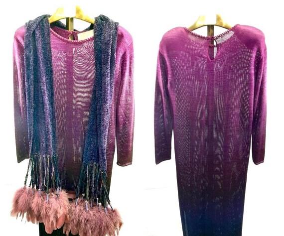 Vintage 80's Purple Rose Handmade Dress // One Siz