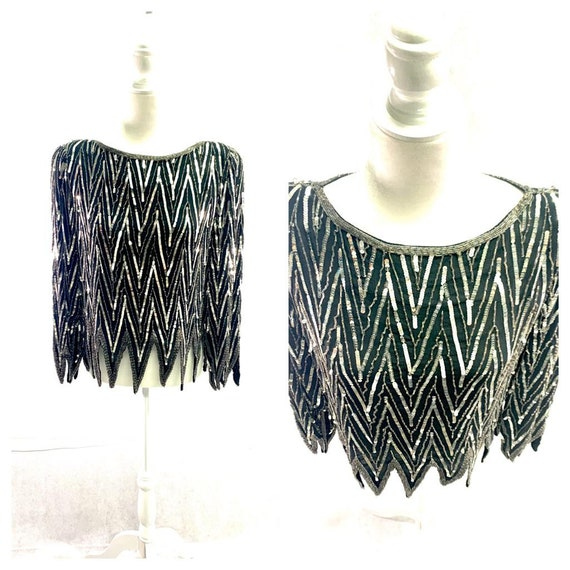St. Honore Vintage Sequin Beaded Silk Shirt Blouse