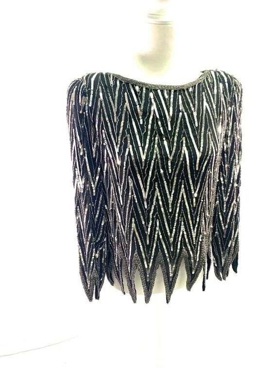St. Honore Vintage Sequin Beaded Silk Shirt Blous… - image 3