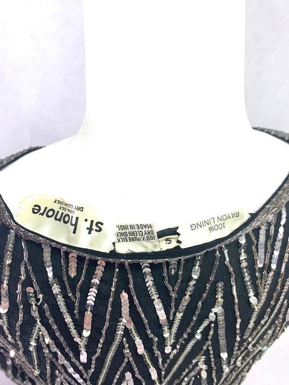 St. Honore Vintage Sequin Beaded Silk Shirt Blous… - image 9