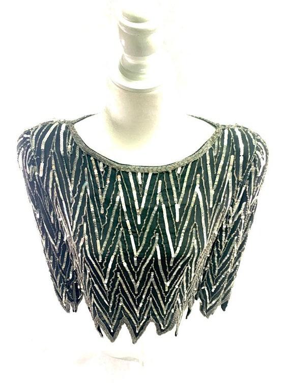 St. Honore Vintage Sequin Beaded Silk Shirt Blous… - image 5
