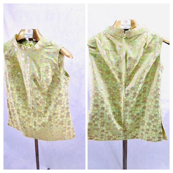 Vintage Handmade Green Rayon Top Blouses // One Si