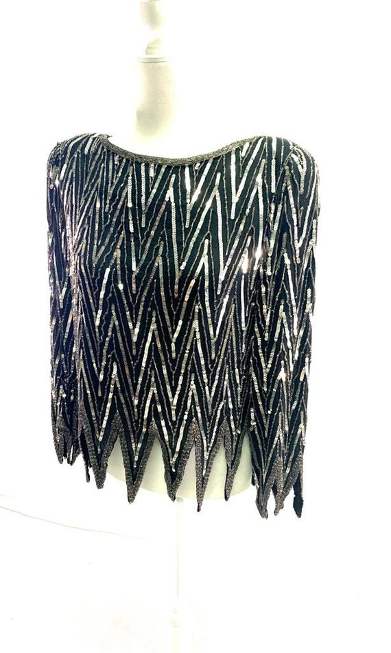 St. Honore Vintage Sequin Beaded Silk Shirt Blous… - image 4