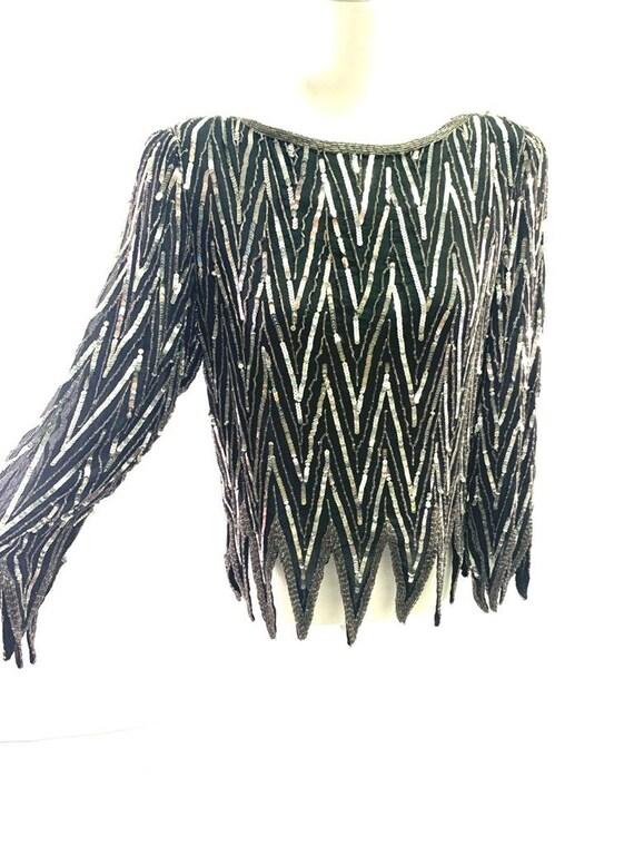 St. Honore Vintage Sequin Beaded Silk Shirt Blous… - image 6