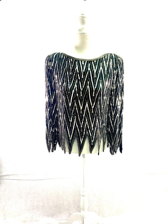 St. Honore Vintage Sequin Beaded Silk Shirt Blous… - image 2