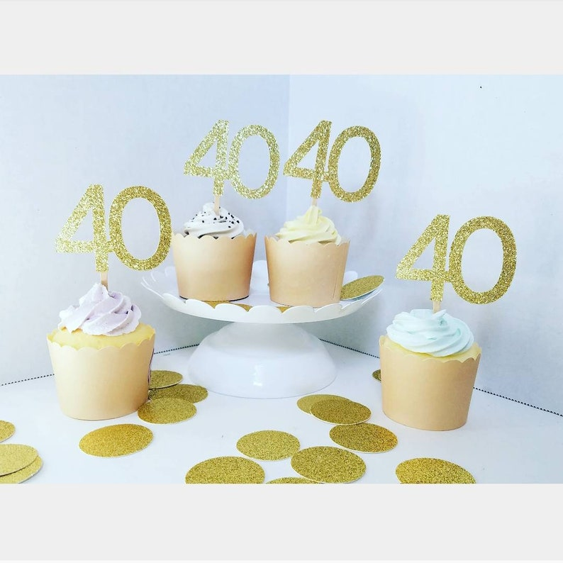 40th wedding anniversary cupcake toppers,40th birthday cupcake toppers,any age,any year,customizable toppers,cheers to 40 years