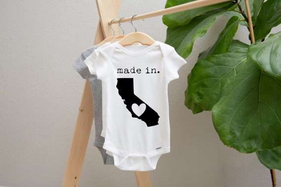 California Onesie\u00ae Baby Shower Gift Gender Neutral Black Custom Onesie\u00ae