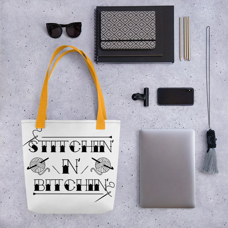 stitchin n bitchin funny crochet bag project bag funny tote bag funny knitting bag g Tote bag reusable bag crochet bag knitting bag