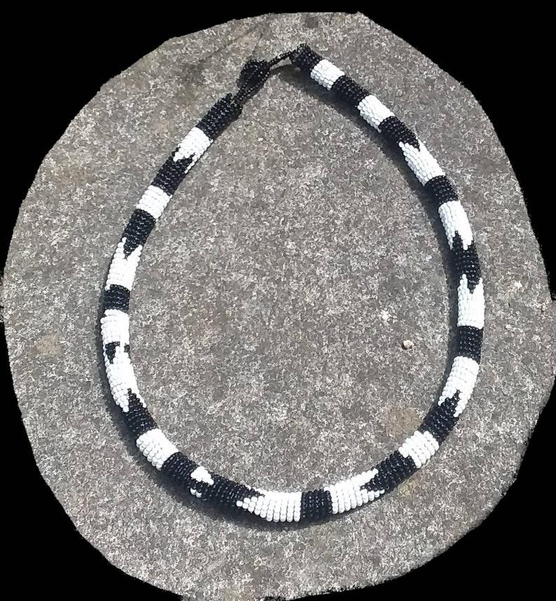 Intricate Ethnic Style Design,Vintage 1980s,Barely Worn,Pristine,Smart Boho Look Handmade Crochet Bead Black/&White Necklace,Collar Style