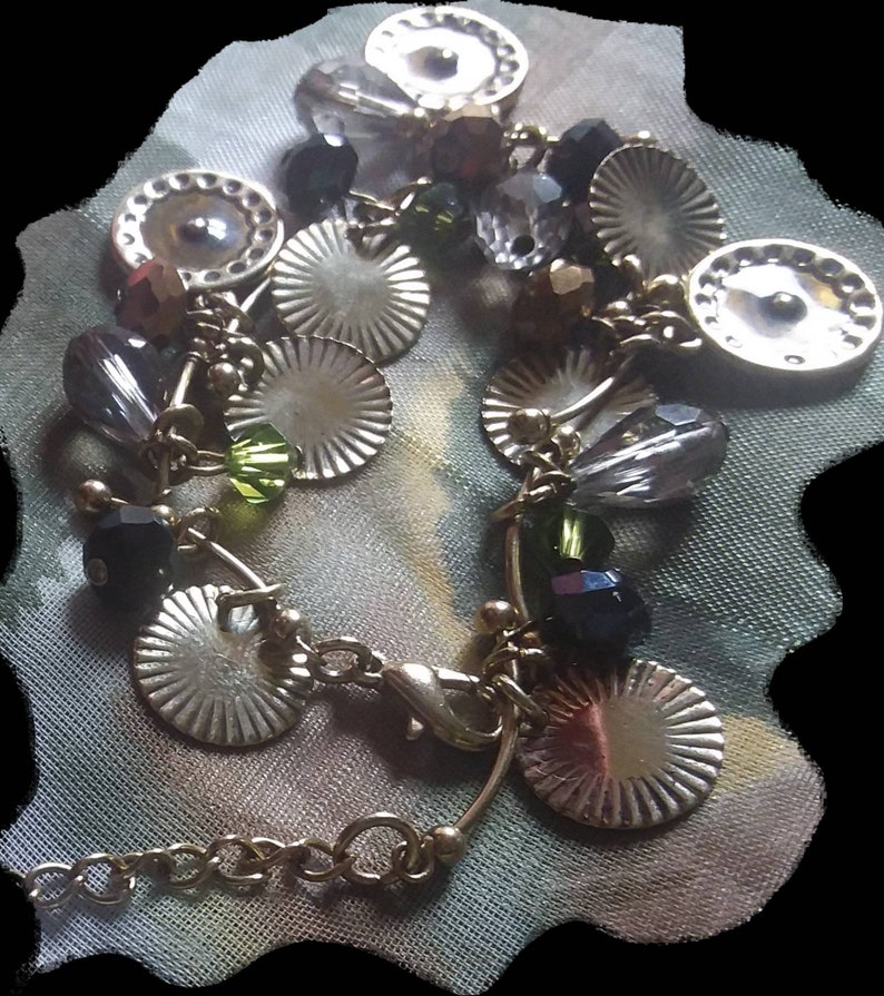 Vintage 1979 Charm Bracelet,Signed Vicenza.Gold Plated Bar Link Chain+Goldtone Coins,Enamel Discs/&Dangling Rhinestone Crystals,Pristine
