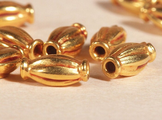Handmade 18K solid pine cone shaped gold finding bead pure gold supplies