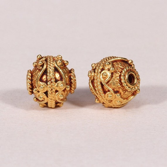 Fine 1 Pcs 18K Solid Gold Hand Made 3x2 mm Gold Bead.