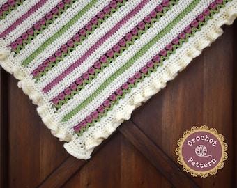 Ruffled Rose Garden Baby Blanket Pattern - Baby Girl Afghan Crochet Pattern - Instant PDF Download