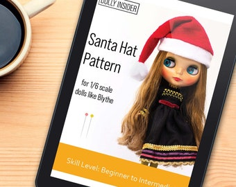Santa Hat Doll Sewing Pattern. Beginner Friendly Pattern. Fit 1/6 Scale Doll Like Blythe Pullip. PDF Instant Download Tutorial. Holiday Hat