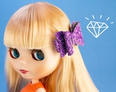 Hair Bow for Blythe - Purple Glitter Hair Clip - Pullip - Blythe Accessory - 1/3 Scale Doll - Gift for Doll Collectors- BJD - American Girl