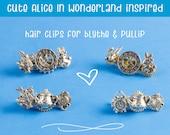 Hair Clips for Blythe - Pullip Doll Barrette, Alice in Wonderland, Steampunk, 1/3 BJD Doll, Blythe Accessories, Mini Clip, Handmade,