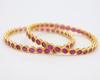 Statement Set Handmade Gold Rose Hyderabadi Bangles Pink CZ Diamonds Bangles Bracelets Jewelry Set Indian Party Wear Bracelets Bangles