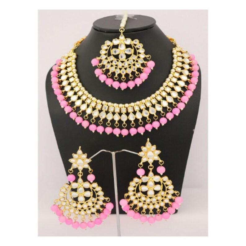 828e28a3fa4 Pink Beads Kundan Necklace Earrings Tikka Gold Plated Trendy | Etsy