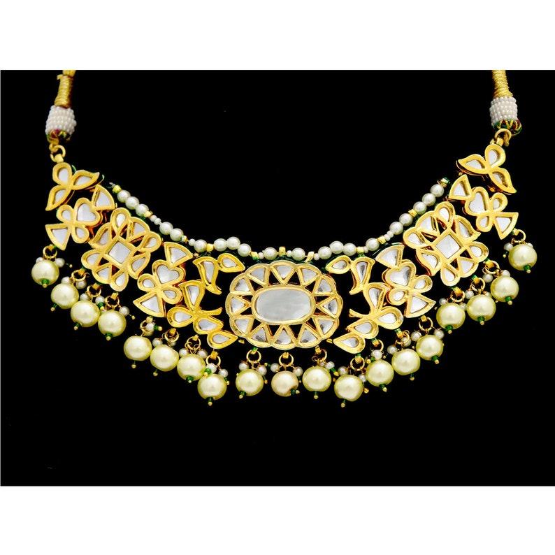 Indian Jewelry Kundan Glass Stones Pearls Necklace Earrings Jhumki Dangler Pearls Gold Plated Meenakari Mughal Art Bridal Engagement Jewelry